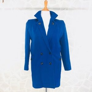 Vintage 80's royal Blue Wool Coat size 9/10